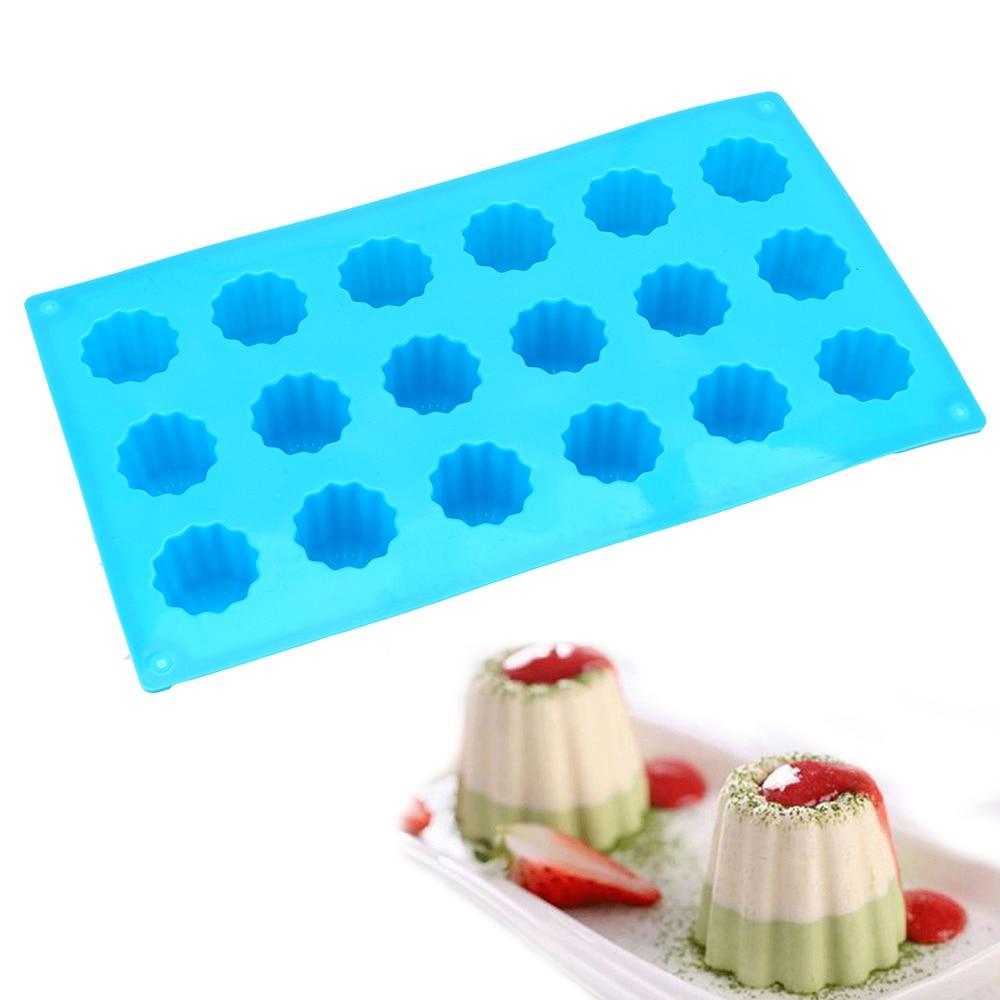 18 löcher Silikon Form Muffin Cupcake Backblech Bordelais Geriffelte Kuchen Pudding Form DIY Backen Küche Zubehör