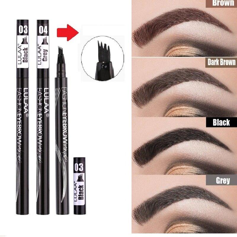 4 Colors Eyebrow Pen Waterproof Long Lasting Four-claw Eye Brow Pencil  Brown Maroon Black Gray EyeB