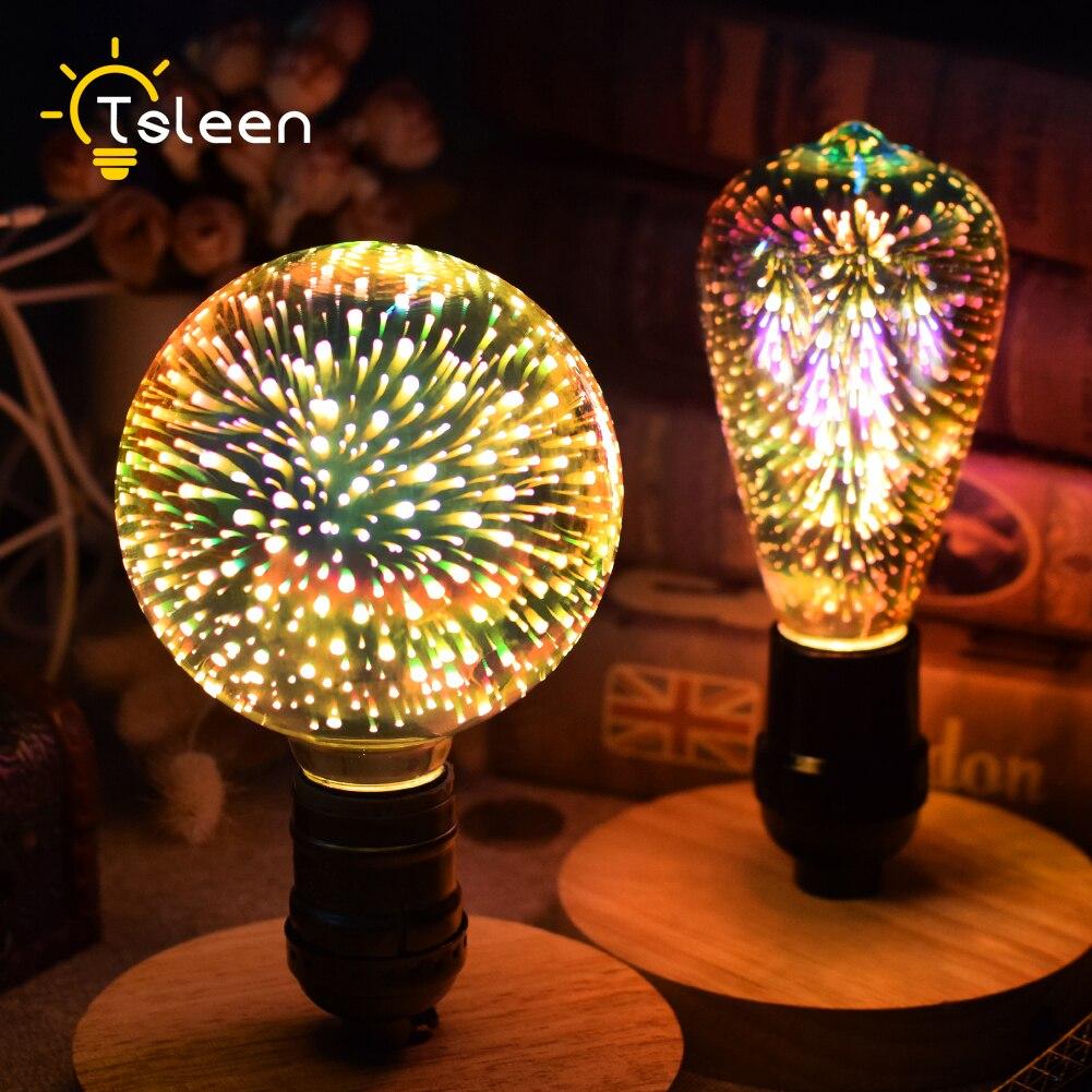4Pcs 3D LED Lamp Edison Light Bulb Vintage Decoration E27 110V 220V LED Filament lamp Fireworks Light Replace Incandescent Bulb
