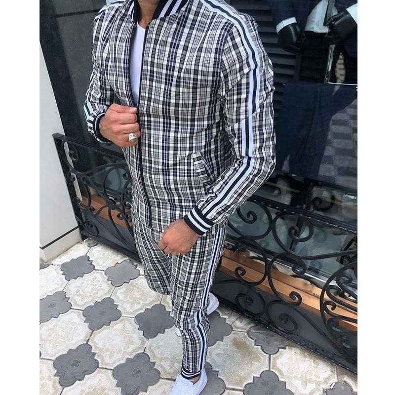 Z2021 Man Tracksuits Men's Sets 3D Print Sets Men Grid Two-piece Patchwork Zipper Tracksuits Small Leg Trouser Sweat Suits Sets