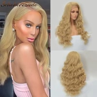 body wave lace front wig synthetic blonde lace front wig long brown wig for women heat resistant t part cosplay wig scheherezade