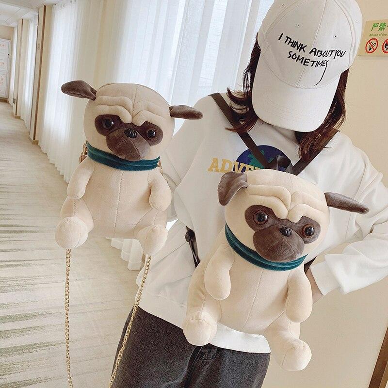 Mochila para perro y gato Kawaii Shar Pei Pug, mochila de peluche de Animal para niños, bandolera, embalaje de dulces, libros, bolso escolar para niños, mochila de juguete para niña