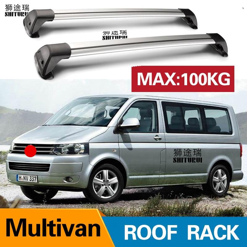 2 uds. Para VOLKSWAGEN Multivan Caravelle T5 T6 Barra de techo de coche especial de aleación de aluminio Bloqueo de correa de disparo Led estante de techo CORSS RACK