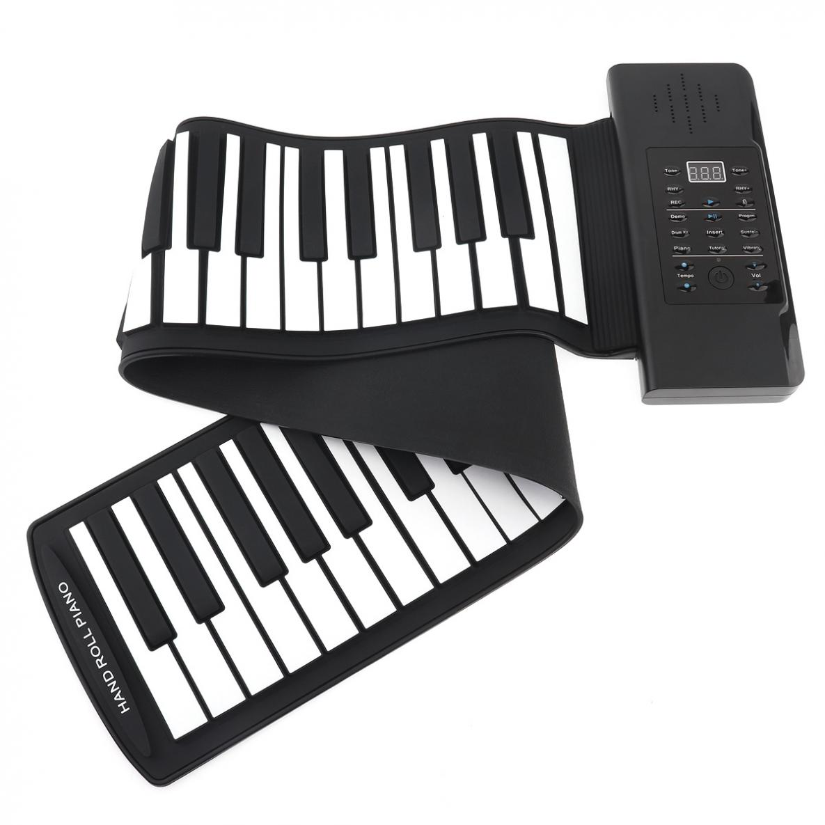 61 Keys USB MIDI Output Roll Up Piano Rechargeable Electronic Portable Silicone Flexible Keyboard Organ Built-in Speakers enlarge