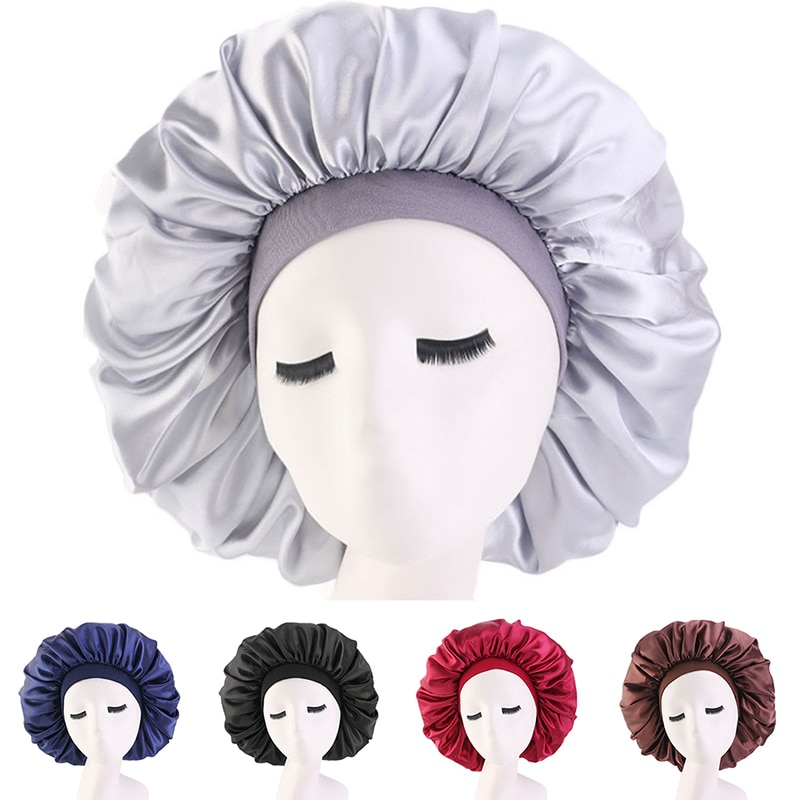 Wide Adjust Women's Satin Bonnet Solid Sleeping Hat Night Sleep Cap Hair Care Bonnet Nightcap For Women Men Unisex Cap bonnet de