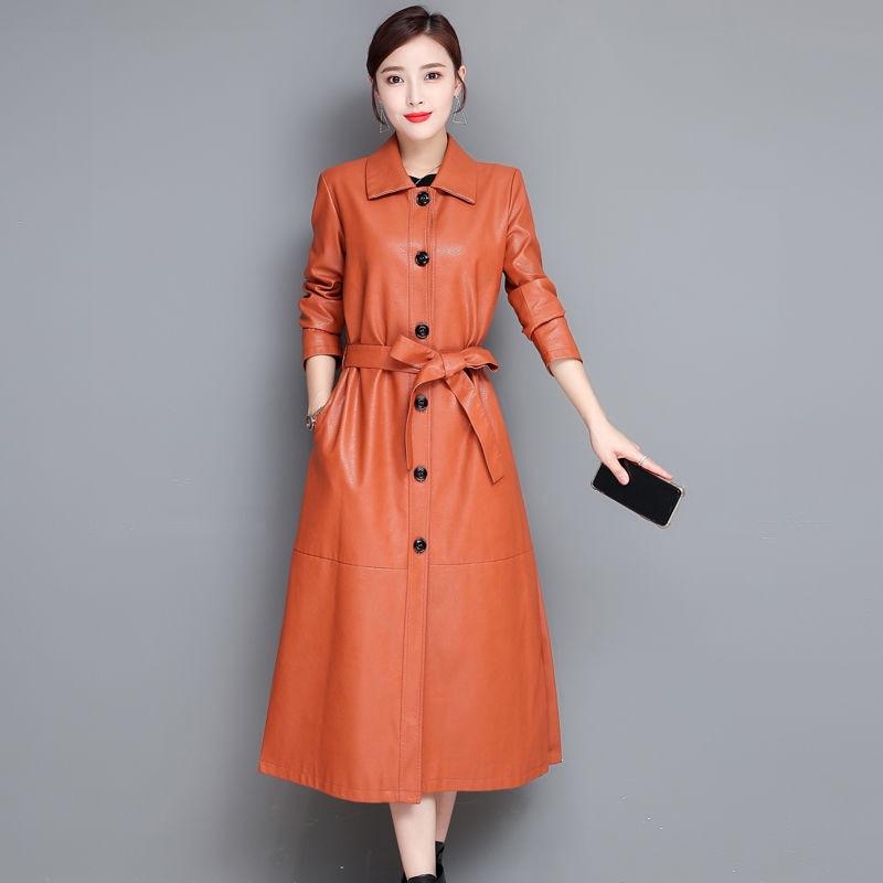Ailegogo-معطف نسائي طويل من الجلد الطبيعي ، سميك ، خريف ، ملابس مكتبية