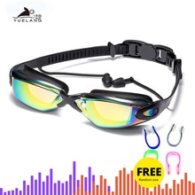 Professional Swimming Goggles Swimming Glasses with Earplugs Nose Clip Electroplate Waterproof Silic