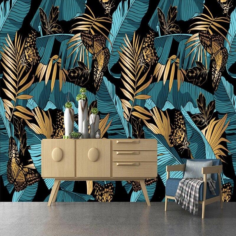 Пользовательские 3D фото обои абстрактные голубое золото Тропическое растение банан лист росписи стены искусства обои для стены спальни, гостиной