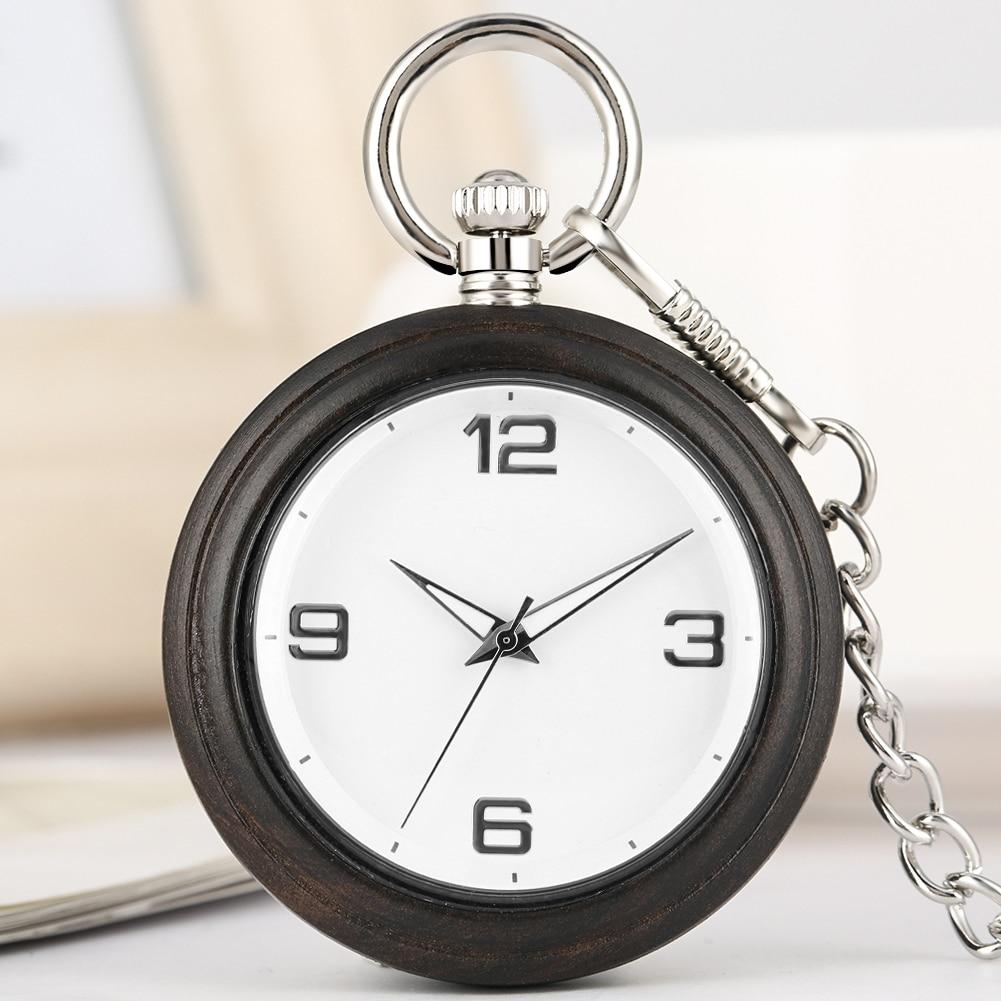 Concise Women Wooden Pocket Watch Quartz Necklace Chain Clock Premium Alloy Rough Pendant Watches Men Gift zakhorloge