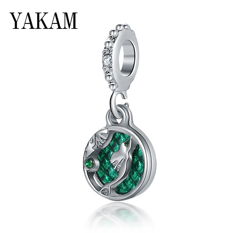 Esmalte verde dos desenhos animados sereia pingentes caber original pandora encantos pulseira pouco ariel pprincess balançar feminino jóias pulseiras