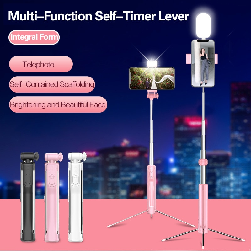Luz de relleno LED palo Selfie 3 en 1 extensible Bluetooth oculto trípode teléfono soporte Monopod Selfie Stick para iPhone Smartphone