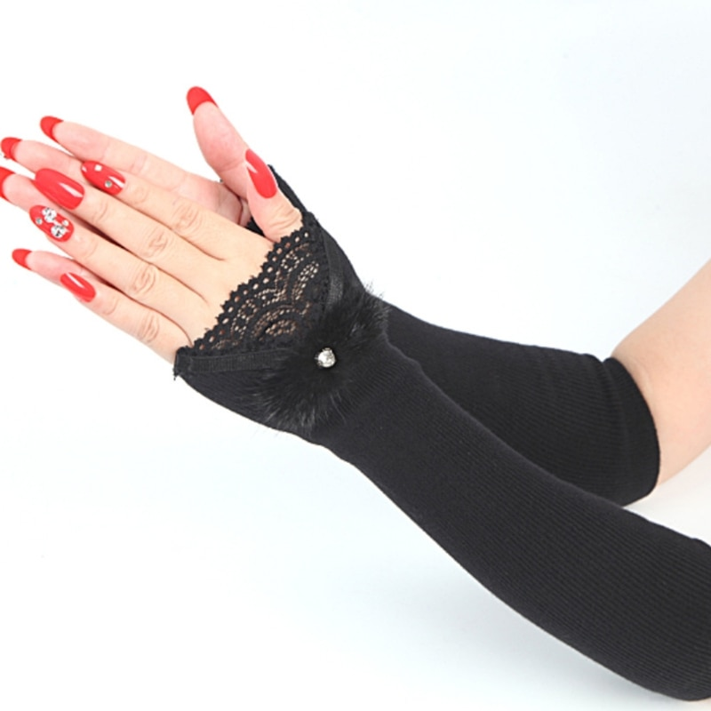 Women Winter Ribbed Knitted Thermal Arm Warmers Sleeves Lace Rhinestone Furry Bowknot Stretchy Long Fingerless Gloves