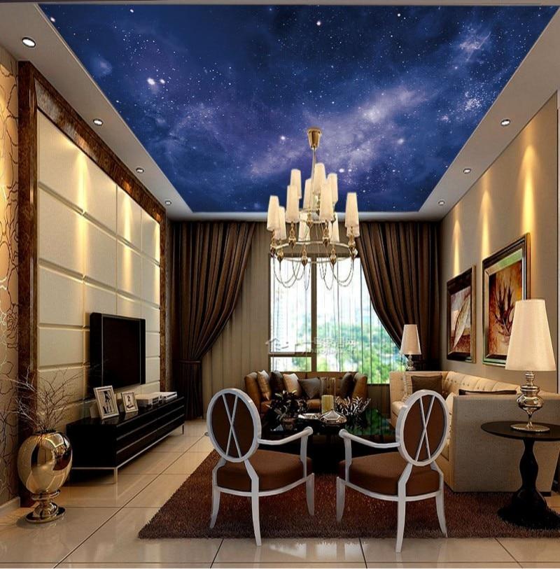 Hermoso cielo estrellado techo Mural Zenith pintura pared techo papel pintado murales sala de estar dormitorio techo Mural Decoración