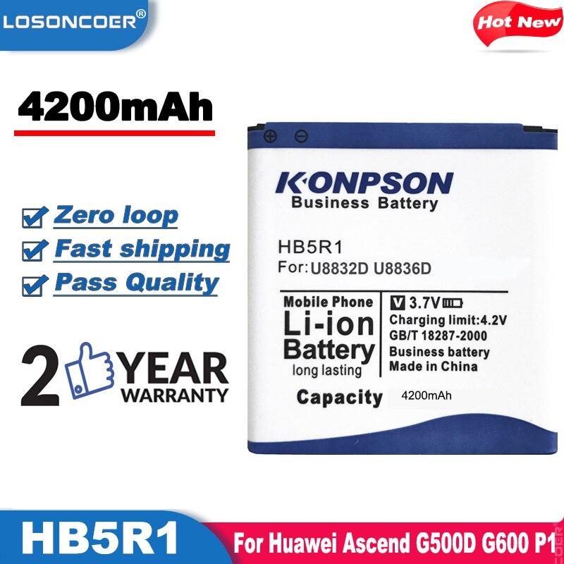 LOSONCOER 4200mAh HB5R1 el uso de la batería para Huawei Ascend G500D G600 P1 LTE 201HW Panamá U8520 U8832 U8832D U8836D U8950 U8950D