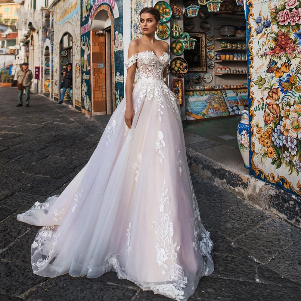 Review Sweetheart A-Line Off The Shoulder Wedding Dress Sleeveless Appliques Lace Up Court Train Bridal Gowns 2021 Vestido De Noiva