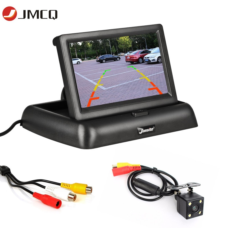 JMCQ 4.3 inch HD Display Foldable Car Monitor TFT LCD Cameras Reverse Camera Screen Parking System for Car Rearview Monitors
