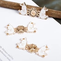 exquisite metal rabbit buttons retro closure connectors clasps button diy sweater dress sewing craft clip pin buckle accessories