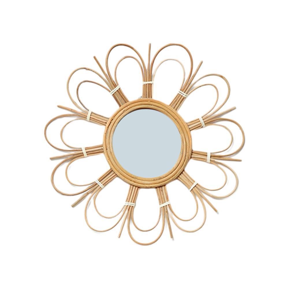 Montagem em Parede de Espelho de Vime Espelho para Sala de Estar Casa de Banho Arte Nordic Decoração Inovadora Rodada Maquiagem Vestir Cozinha