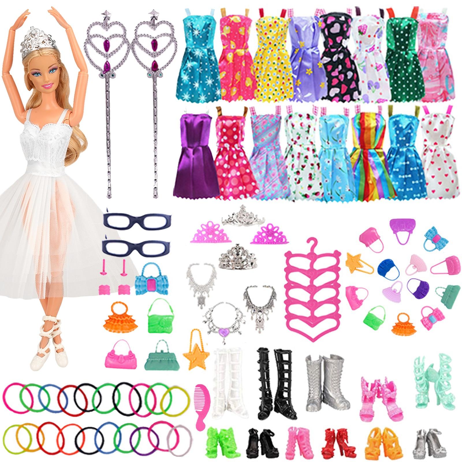 79 шт./компл. Барби аксессуары для кукол одежда для обувь для куклы Барби сапоги мини платье сумочки Корона вешалки очки для куклы Барби