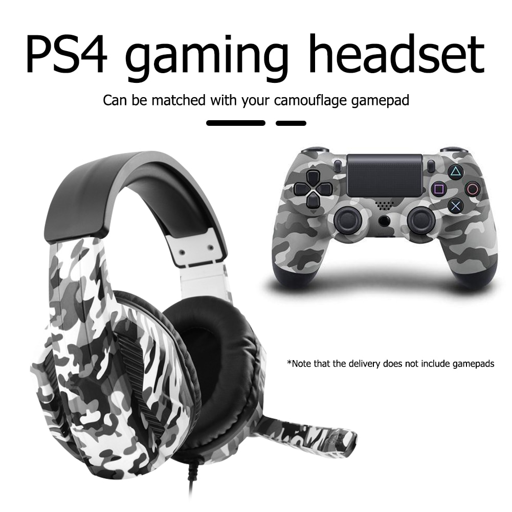 Camouflage Headphone 50mm Subwoofer WiredGame Headset with Microphone for PS4 Gamers Computer PC Gam