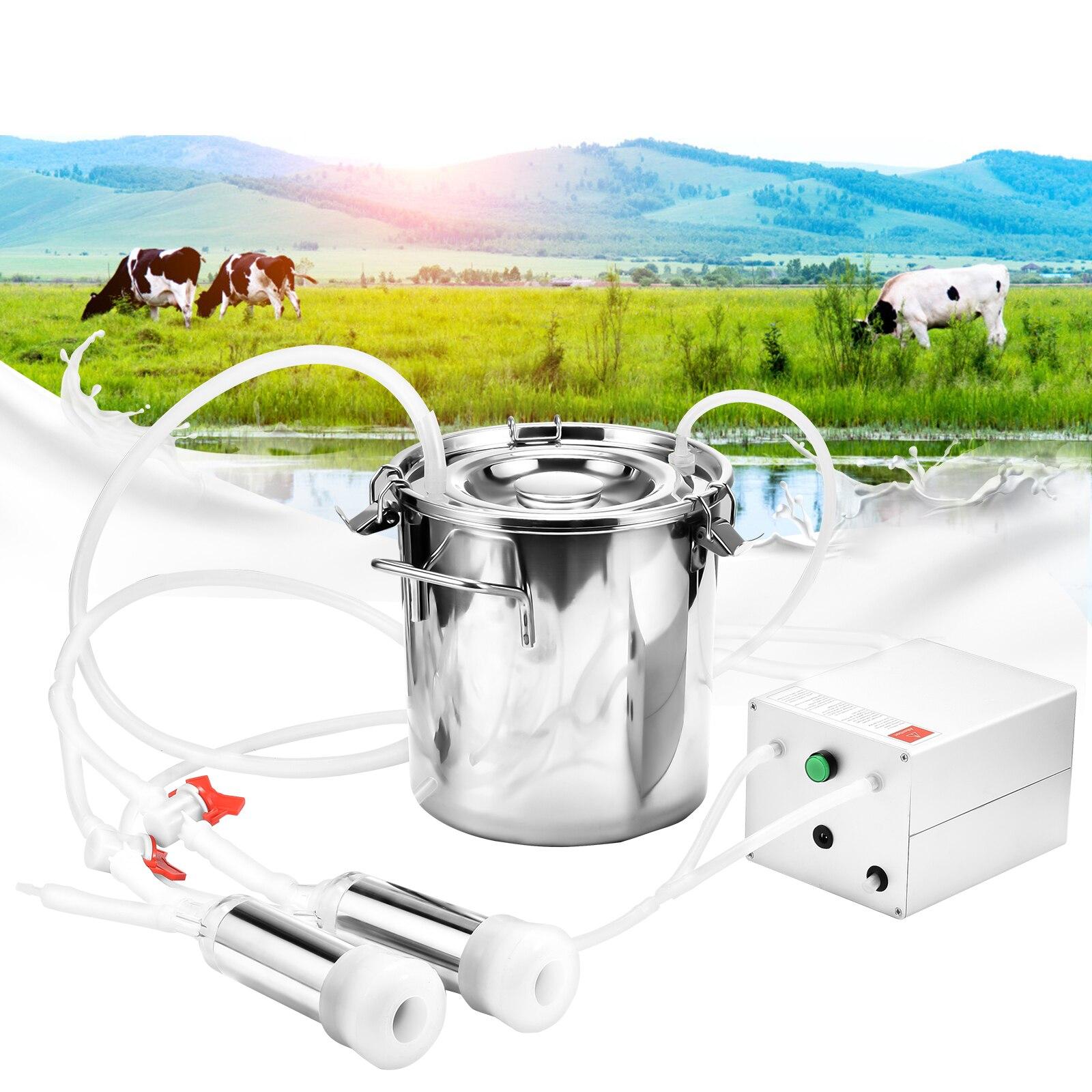 7L /14L Portable Electric Goat Cow Milking Machine Auto Stop Function Pulsation Vacuum Pump Milker For Farm Cow Sheep Goat EU US
