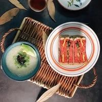 foldable plate household snack mat rattan storage tray basket fruit rack bowl
