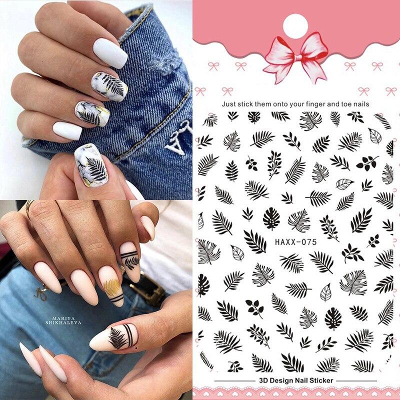 1 Pc Colorful Marple Leaf Black 3D Nail Sticker Nail Art Transfer Stickers Paper Nail Decorations DIY Designs Accessories