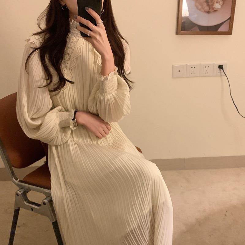 H35141d6ca6ba4b8193f4e7487beba6fcK - Spring / Autumn Lace Stand Collar Long Sleeves Pleated Midi Dress with Belt