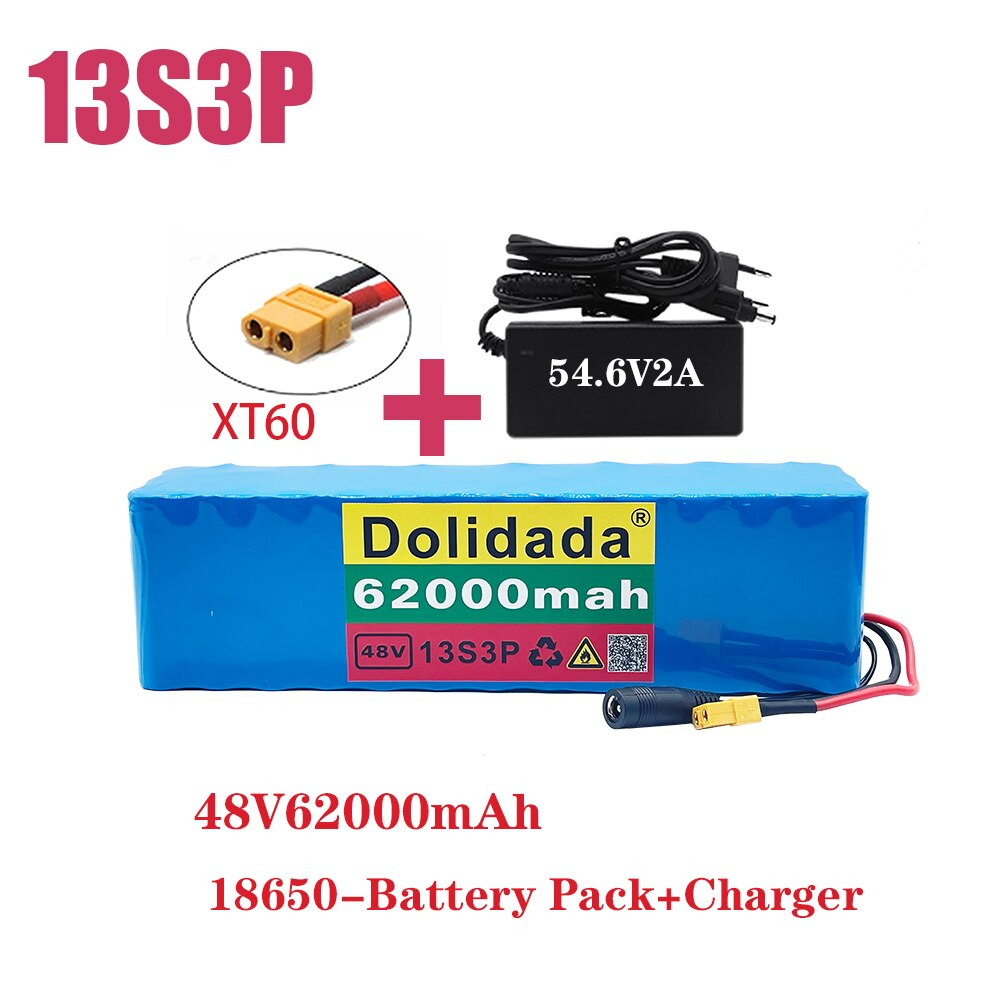 XT60 المكونات 48V62Ah 1000 واط 13S3P 48 فولت بطارية أيون الليثيوم حزمة ل 54.6 فولت E-دراجة هوائية كهربائية سكوتر مع BMS + 54.6 فولت شاحن