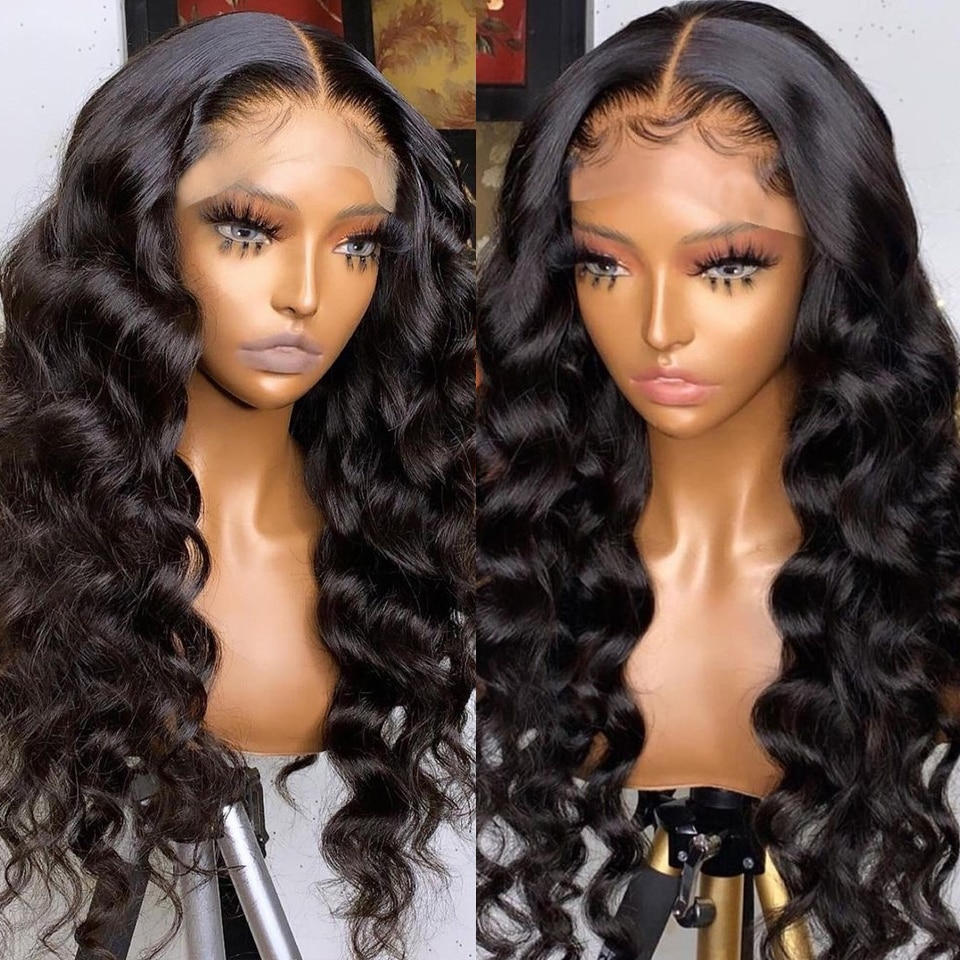 13x4 HD Lace Frontal Wig Loose Deep Wave Wigs Brazilian Natural Wave Wig Transparent Lace Wigs Melte