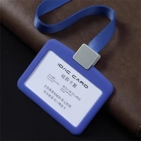 soft rubber tag sleeve name badge reusable card pocket with suspension lanyard cord