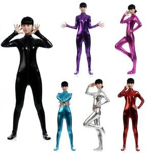 Metallic Lycra Turtleneck Long Sleeve Unitard Black Adult One Piece Wet Look Footed Mock Neck Shiny Dance Catsuit