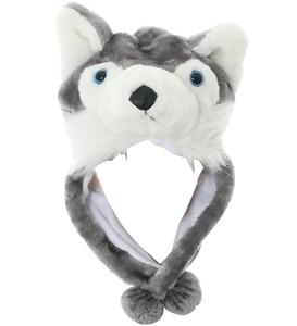 JOYHY Kids Boys Girls Cute Plush Earflap Gray Wolf Animal Hats Teenagers Halloween Cosplay Christmas Party Winter Beanie Hats