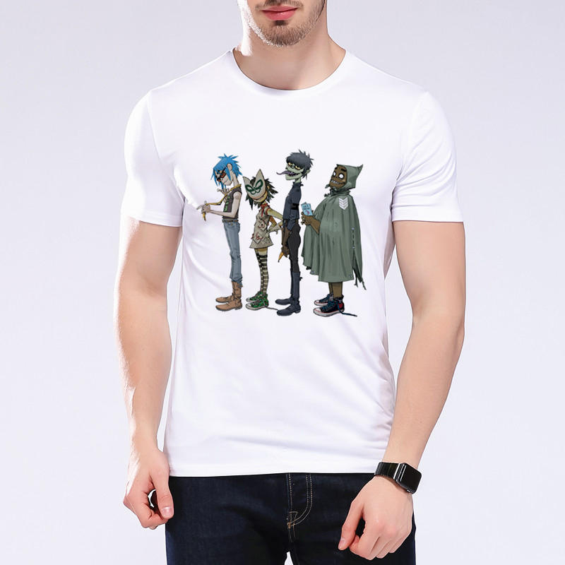 Gorillaz banda de Rock Rap Hip Hop Anime gracioso camiseta Casual de algodón de manga corta de verano de estilo Punk Camisa Masculina de talla grande L9k10