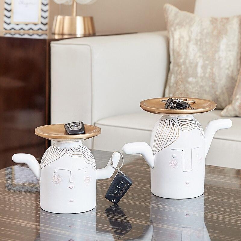 Q versión-receptor de llaves para el hogar, de resina de algas marinas con rostro humano, almacenamiento de llaves creativo de estilo nórdico, para sala de estar, sobremesa, plato para dulces, abstracción X3197