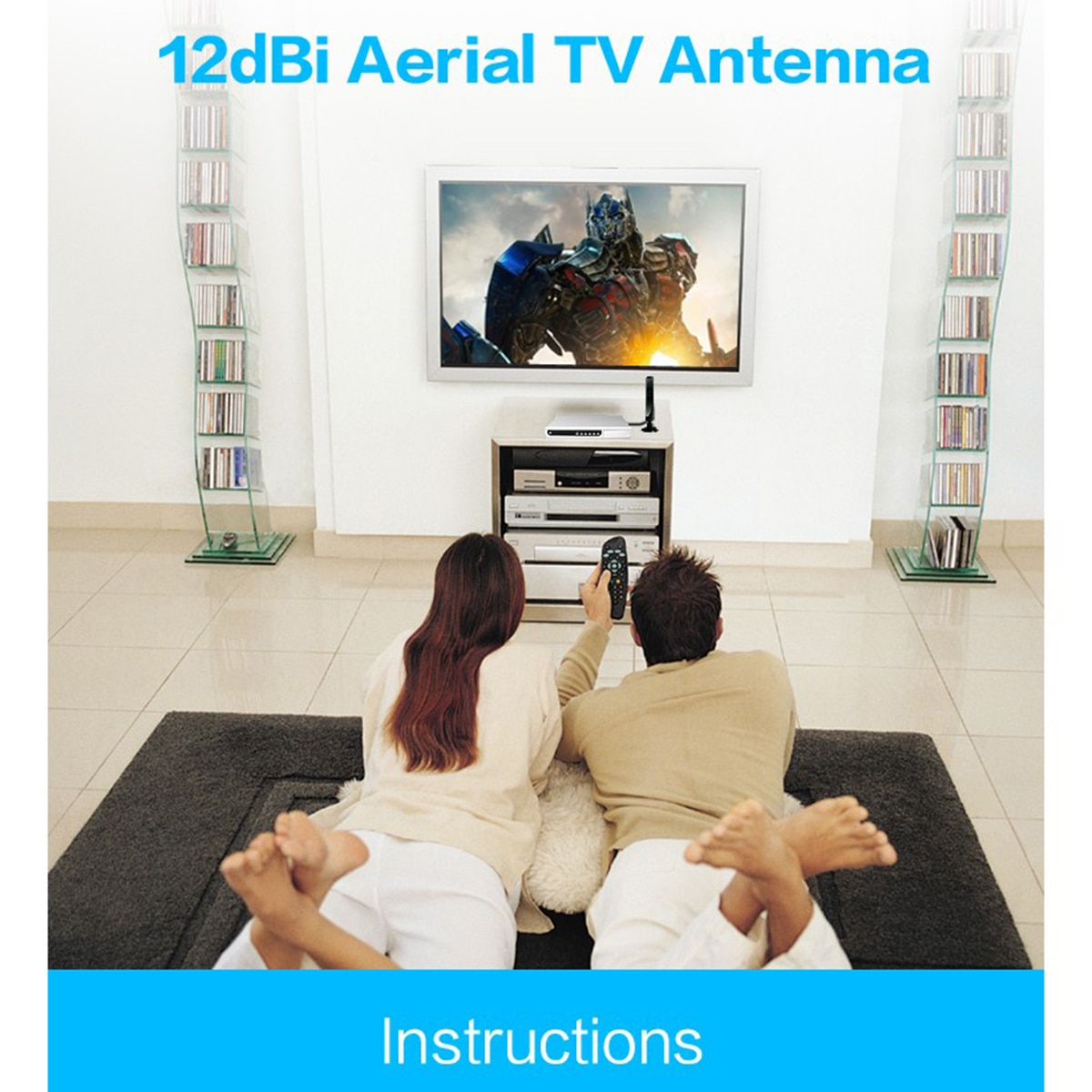 Antenne de télévision aérienne intérieure 12dbi à Gain élevé pour DVB-T TV HDTV numérique freevia HDTV numérique, Booster de Signal