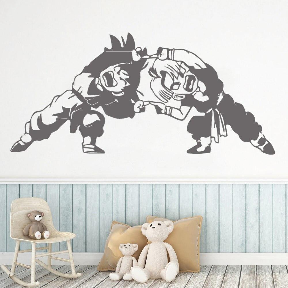 Pegatina de pared de Bola de Dragón de estilo americano de dibujos animados Auto adhesivo Watercolo sala de estar de los niños etiqueta Mural