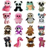 15cm ty beanie boos big eyes owl sea lion monkey leopard plushie cute doll baby kids collection toys decor child birthday gift
