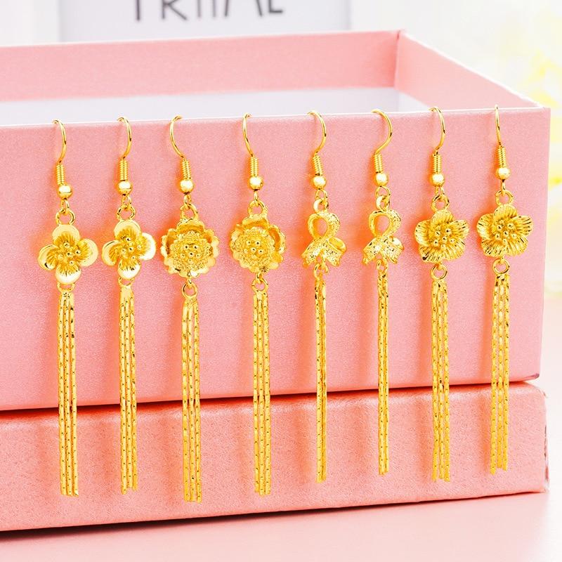 New Fashion Real 24K Gold Leaf Moon Star Earrings for Women Gold Color Flower Heart Circle Wedding Earrings Tassel Long Earrings