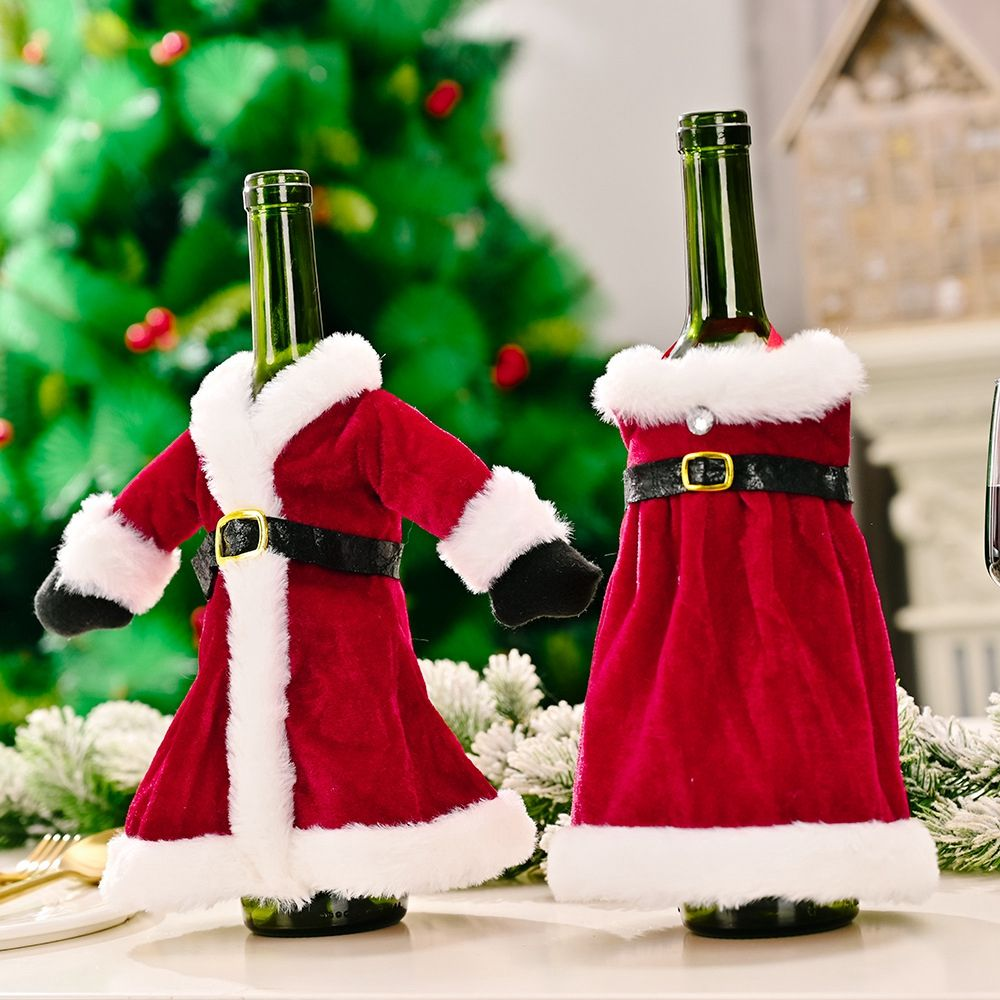 Fashion Wine Cover Champagne Reindeer Scarf Hat Santa Claus Snowman Bottle Cover Bag Holiday Xmas Pa