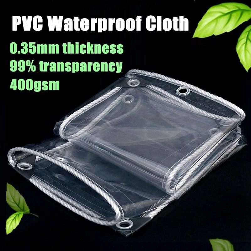 0,35 мм Толщина Прозрачный брезент из ПВХ Непромокаемая ткань балконные окна непромокаемый тент дом для домашних животных Водонепроницаемый чехол брезент