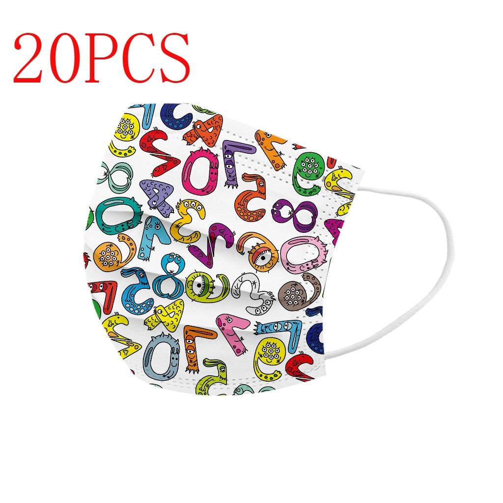 20 piezas desechables de dibujos animados para niños, Mascarillas con números arábigos...