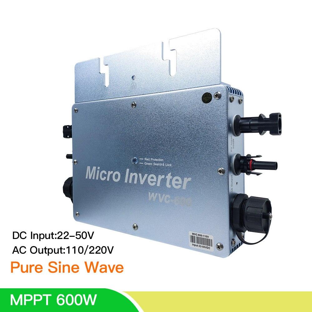 Yüksek kaliteli 600W güneş invertör MPPT mikro güç şebeke bağlantı invertörü 24/36V/48V DC 110/220V saf sinüs dalga invertör ev için