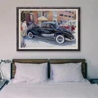 Peinture classique de voiture de course retro T162  57  affiche en soie personnalisee  decoration murale  cadeau de noel