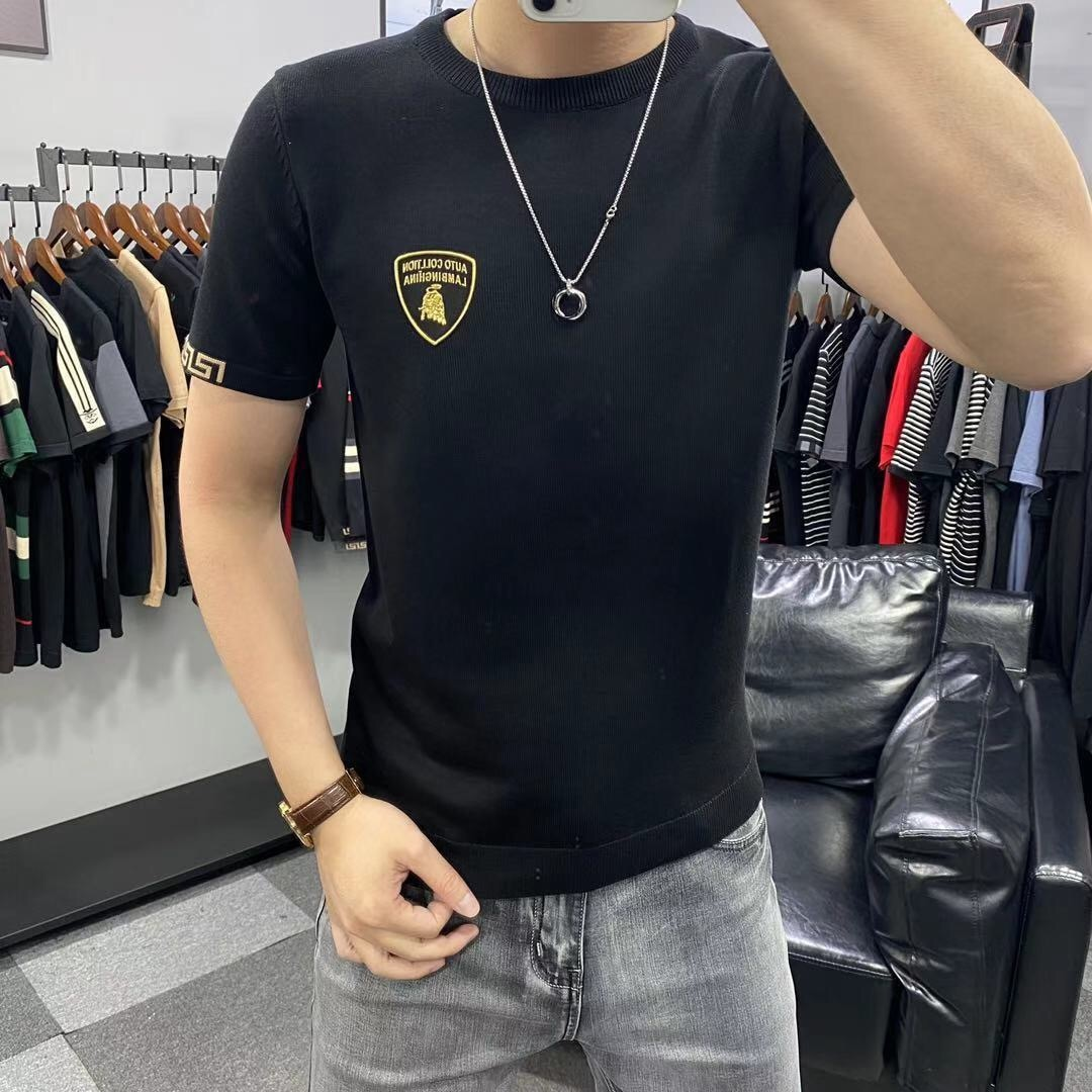 Short-sleeved Sweater Men's Round Neck Sweater Spring and Summer Half-sleeved Bottoming Shirt Western Fashion Sweater