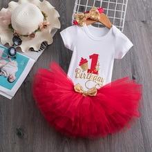 Sequin carta vestido de aniversário 1 ano de idade do bebê vestido de batismo meninas recém-nascidos vestidos de batismo princesa roupas de festa 0-12 m