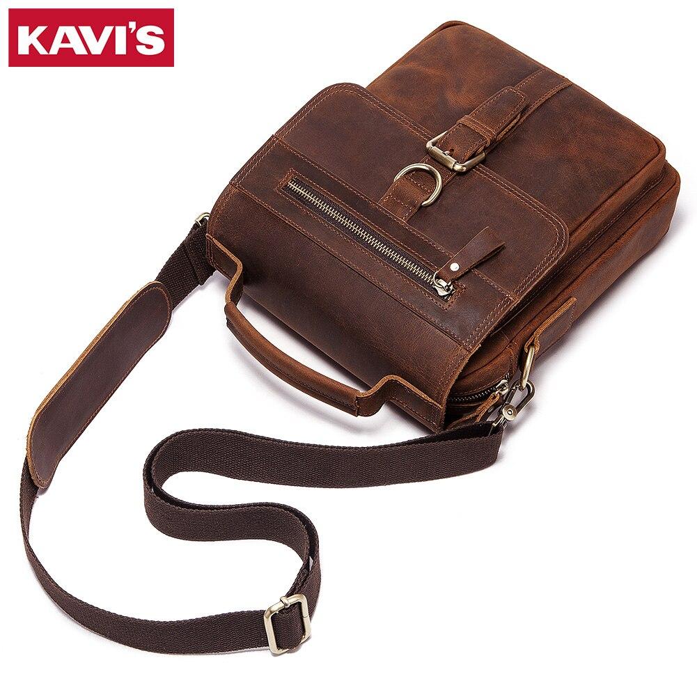 KAVIS جديد الرجال حقيبة كروسبودي حقائب كتف متعددة الوظائف الرجال حقائب سعة كبيرة مجنون حقيبة جلدية للرجل حقيبة ساع