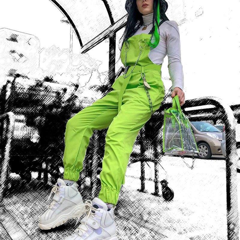 Jiezuofang solto longo harem macacão causal algodão elástico cintura macacão sólido fivela de corrente neon verde playsuits