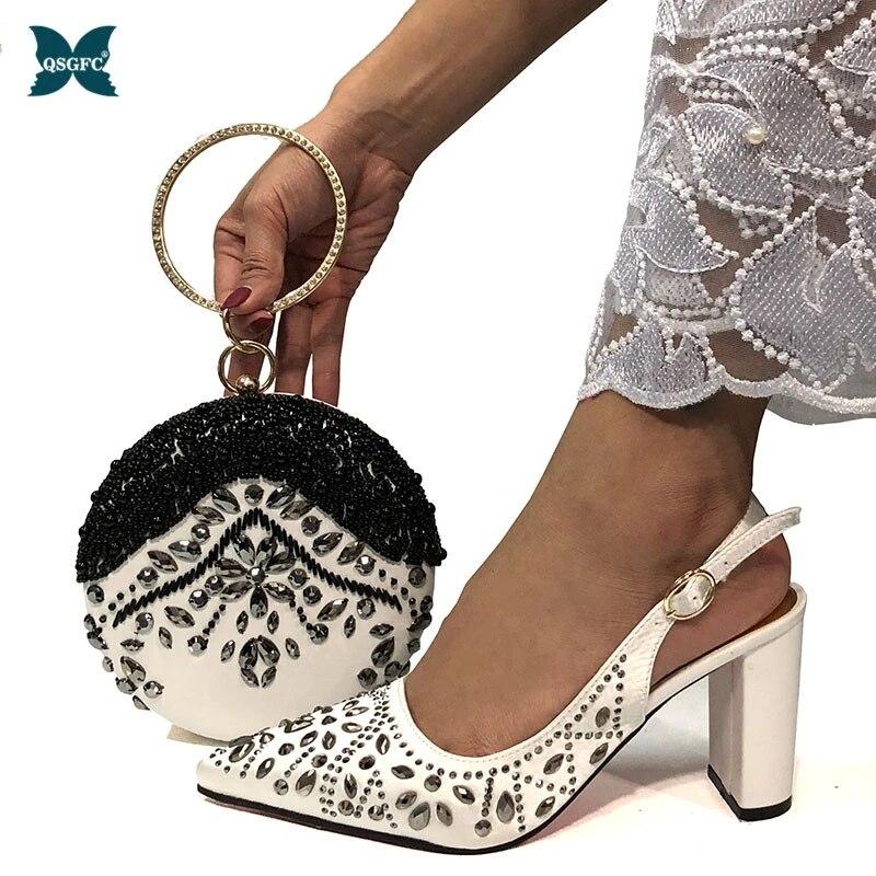 مجموعة حقيبة أحذية مطابقة للنساء ، مجموعة جديدة من الأحذية والحقائب النيجيرية ، تصميم إيطالي أفريقي ، للحفلات ، 2020