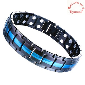 Black blue titanium steel bracelet, magnetic arthritis pain relief, adjustable wrist band, removal tools and gift box